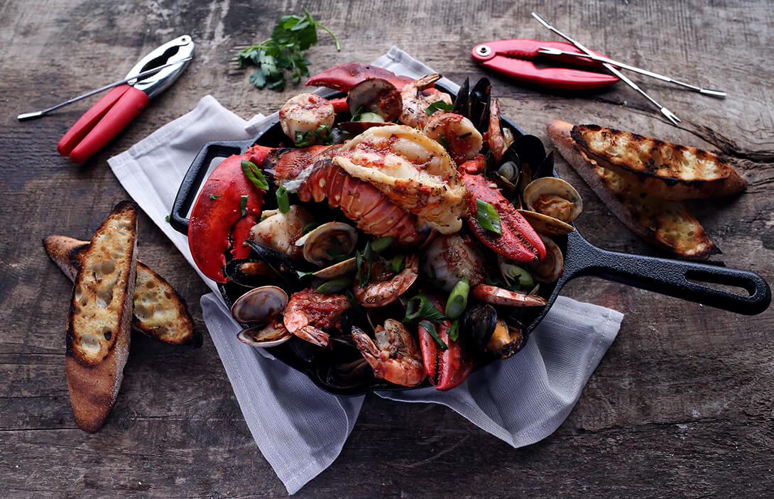 bbq seafood skillet saganaki - marquee magazine exclusive recipes by irene matys
